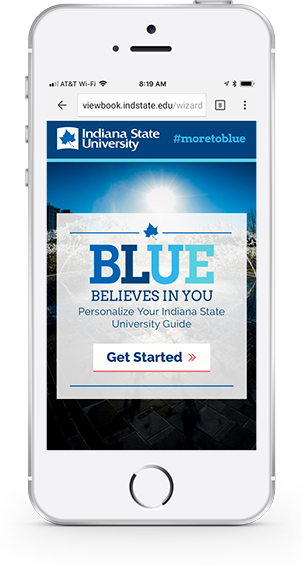 Indiana State University Viewbook on a phone